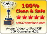 A-one  Video to iPod PSP 3GP Converter 4.32 Clean & Safe award