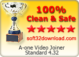 A-one Video Joiner Standard 4.32 Clean & Safe award