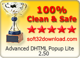 Advanced DHTML Popup Lite 2.50 Clean & Safe award