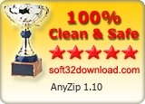 AnyZip 1.10 Clean & Safe award