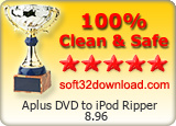 Aplus DVD to iPod Ripper 8.96 Clean & Safe award