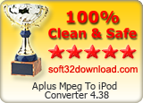 Aplus Mpeg To iPod Converter 4.38 Clean & Safe award