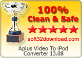 Aplus Video To iPod Converter 13.08 Clean & Safe award