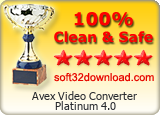 Avex Video Converter Platinum 4.0 Clean & Safe award