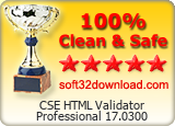 CSE HTML Validator Professional 17.0300 Clean & Safe award