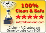 Cipher - A Cryptogram Game by uuba.com 8.00 Clean & Safe award