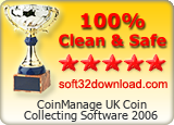 CoinManage UK Coin Collecting Software 2006 Clean & Safe award