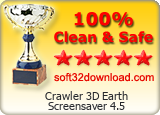 Crawler 3D Earth Screensaver 4.5 Clean & Safe award