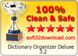 Dictionary Organizer Deluxe 3.2 Clean & Safe award