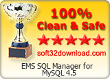EMS SQL Manager for MySQL 4.5 Clean & Safe award