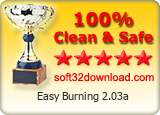 Easy Burning 2.03a Clean & Safe award