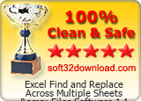 Excel Find and Replace Across Multiple Sheets & Files Software 1.1 Clean & Safe award