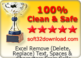 Excel Remove (Delete, Replace) Text, Spaces & Characters From Cells Software 7.0 Clean & Safe award