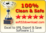 Excel to XML Export & Save Software 1.1 Clean & Safe award