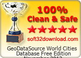 GeoDataSource World Cities Database Free Edition November 2012 Clean & Safe award