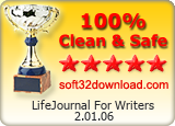 LifeJournal For Writers 2.01.06 Clean & Safe award
