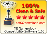 MB Numerology Compatibility Software 1.65 Clean & Safe award