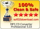 MP3 CD Converter Professional 5.03 Clean & Safe award