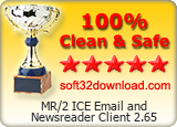 MR/2 ICE Email and Newsreader Client 2.65 Clean & Safe award
