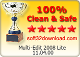Multi-Edit 2008 Lite 11.04.00 Clean & Safe award