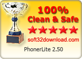 PhonerLite 2.50 Clean & Safe award