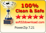 PowerZip 7.21 Clean & Safe award