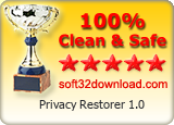Privacy Restorer 1.0 Clean & Safe award
