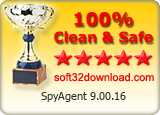 SpyAgent 9.00.16 Clean & Safe award